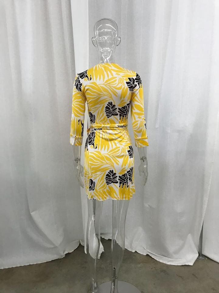 von Casual Diane Dress Vintage Furstenberg Short Wrap Yellow fHqdCHw
