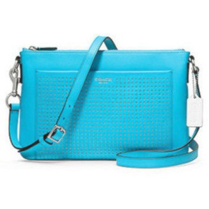 Coach Blue Perforated Leather 48979 Legacy Leather Swingpack Cross Body Bag