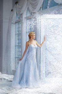 Alfred Angelo Ice Crystal Blue Organza Disney Fairy Tale Collection Style 251 Elsa Gown Feminine Wedding Dress Size 12 (L)