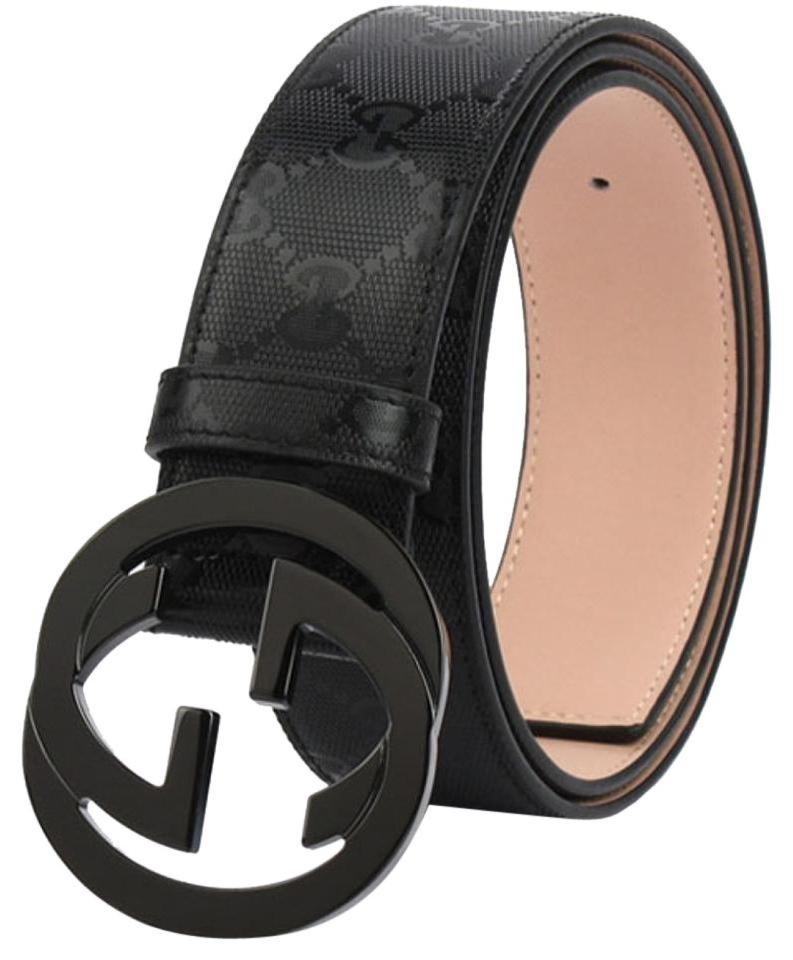 97cdbd58cee Gucci Black Men Guccissima Interlocking G Buckle Imprimé - 85 34 Belt