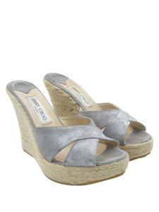 Jimmy Choo Metallic Suede Phyllis Espadrilles Wedges Hemp Wedges Silver Platforms