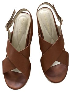 Andrew Geller brown leather and tan Wedges