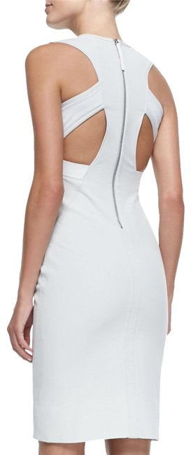 Item - Gray White Compressed Twill Fitted New Prism Women Mid-length Cocktail Dress Size 8 (M)
