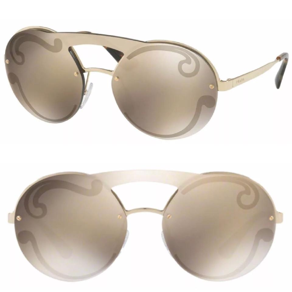 bc048aa6d Prada Gray Gold Round Mirror 36mm Sunglasses - Tradesy