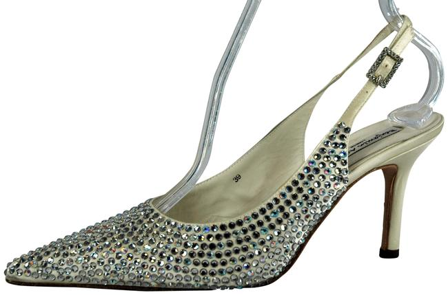 Item - White Crystal Pointy-toe Slingback 8.5m Formal Shoes Size EU 39 (Approx. US 9) Regular (M, B)