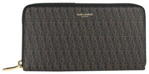 Saint Laurent Saint-Laurent Paris Black/brown Canvas Zip Around Wallet 344076 1059