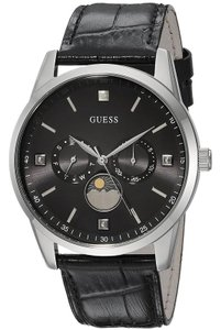 Guess U0868G1 Men's Black Leather Band With Black Analog Dial Watch