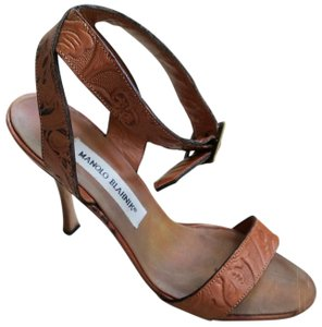 Manolo Blahnik Ankle Strap Floral Summer Tan leather Sandals