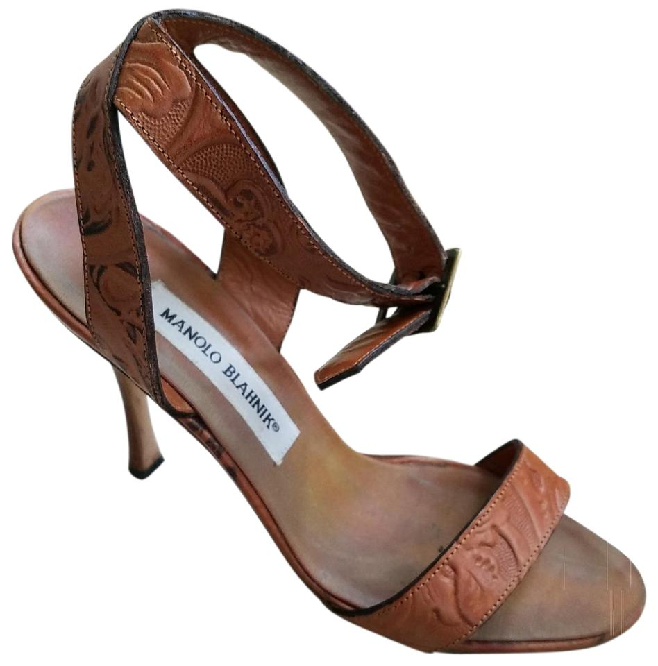 ed8058099e8 Manolo Blahnik Tan Leather Strappy Sandals. Size  EU 37.5 (Approx. US 7.5)  Regular (M ...