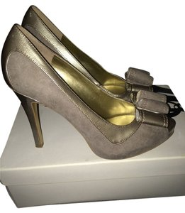 Nine West Suede Peep Toe Work Peep Toe Grey Pumps