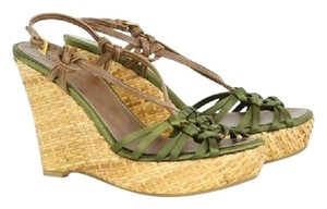 Prada Satin Gold Hardware Ankle Strap Woven Leather Green Wedges