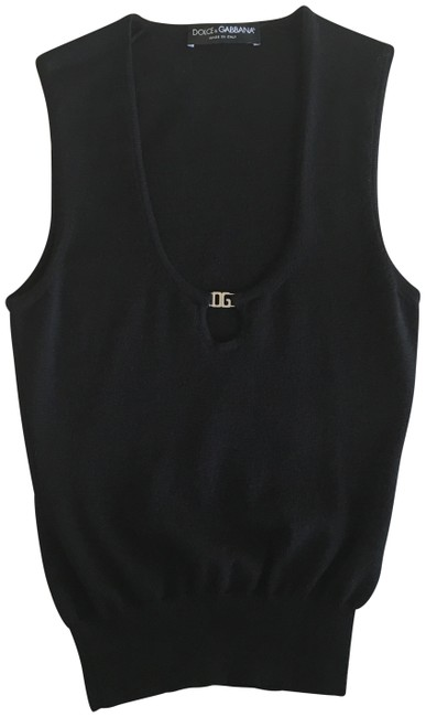 Item - Black with Silver Hardware Sleeveless Low Neck Wool Tank Top/Cami Size 0 (XS)