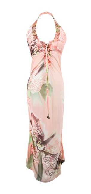 Item - Peach & Multi Floral Body Con Mid-length Night Out Dress Size 0 (XS)