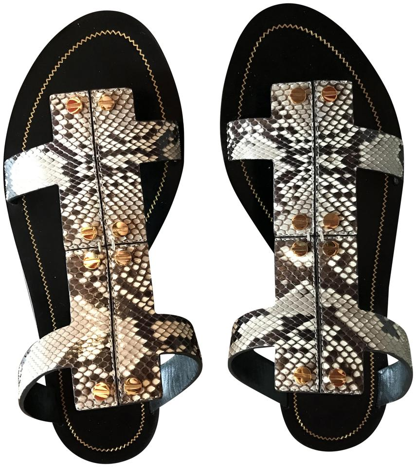Tom T Ford Black T Tom Screw Flat Python Sandals 342647