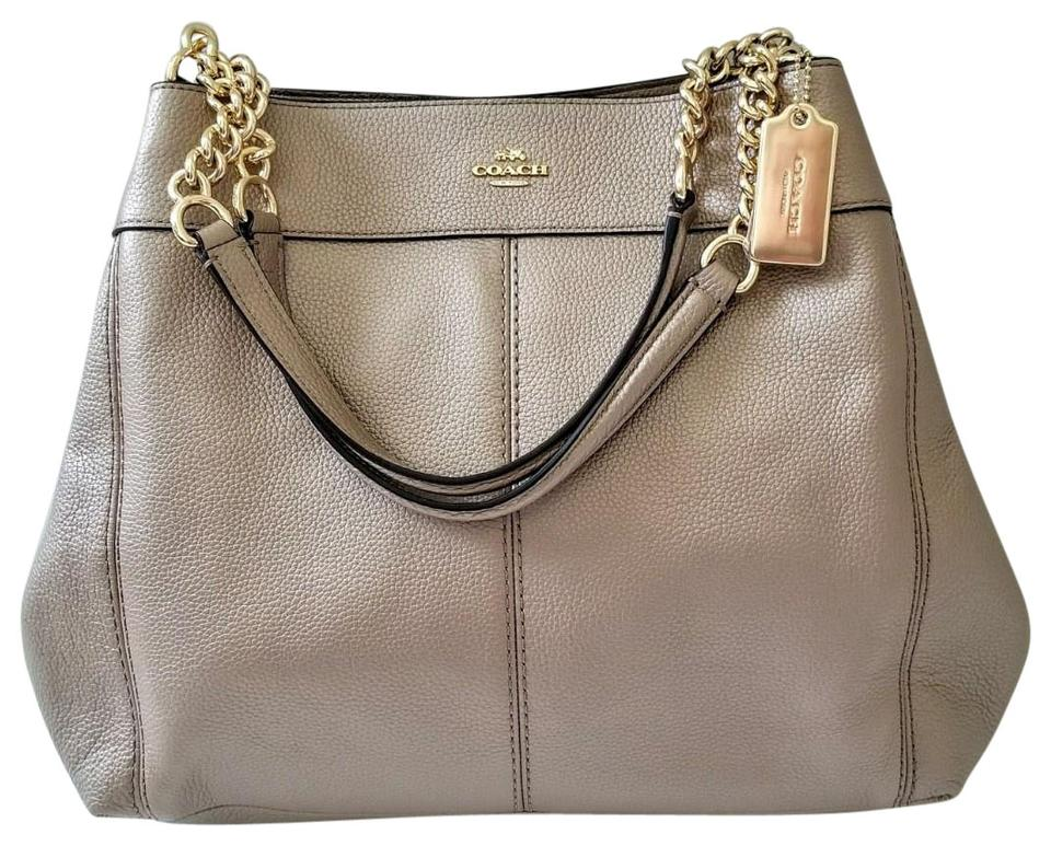 8d73081513c Coach Lexy New Chain Shoulder Purse Platinum Gold Leather Hobo Bag - Tradesy