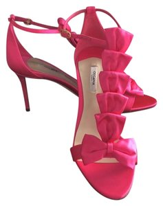 Olgana Paris T-strap Bows Satin Bright Open Toe Pink Formal