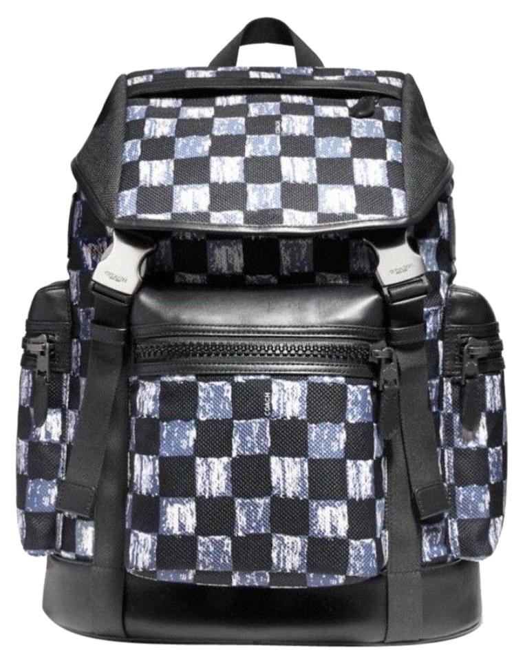 1abcbe1759 Coach New Men Square Checker Print Rucksack Laptop Black Leather and Canvas  Backpack