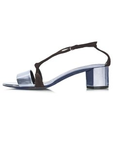 Narciso Rodriguez Suede Glazed Leather pewter Sandals