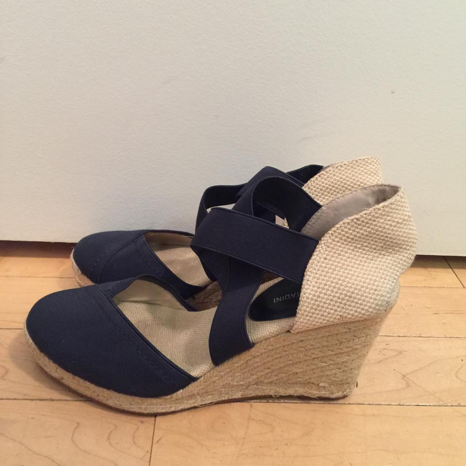 8b81ddc5d8a Adrienne Vittadini Cream and Navy Espadrille Wedges Size US 7.5 Regular (M,  B) 56% off retail