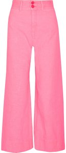 APIECE APART Jesse Kamm Crop Neon Man Repeller Wide Leg Pants Hot Pink
