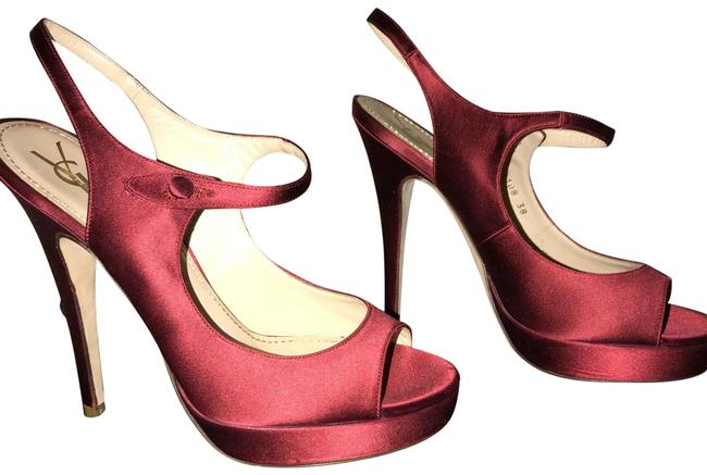 Item - Ruby Red Ysl Satin Sling Backs Formal Shoes Size EU 38 (Approx. US 8) Regular (M, B)