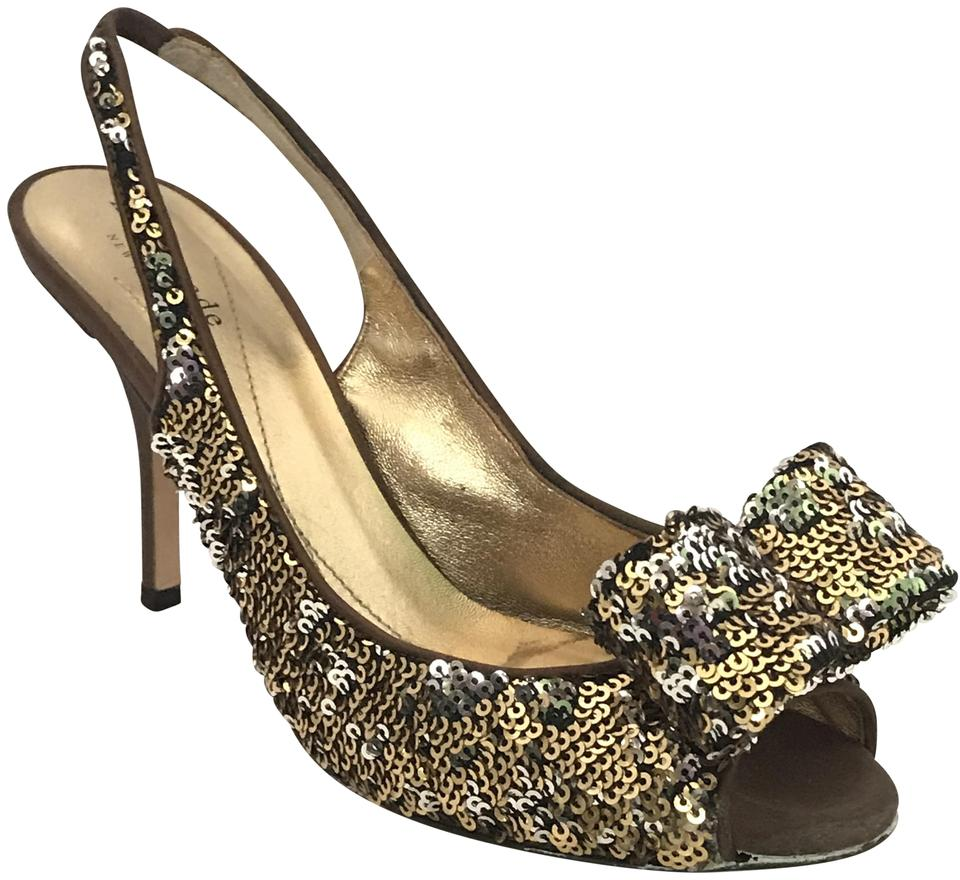 Kate Spade Gold Carly Gold/Silver Sequin Chocolate Satin