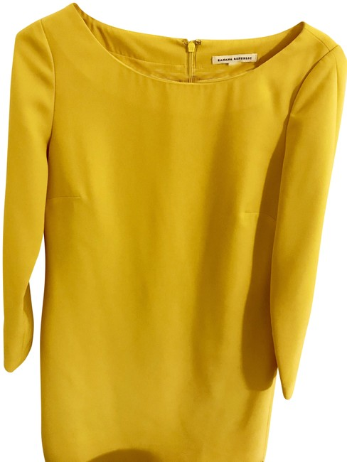 Item - Yellow Or Cocktail Sleeve Short Work/Office Dress Size 4 (S)