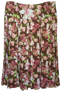 Tommy Bahama Floral Pleated Tropical Silk Blend Skirt Multi