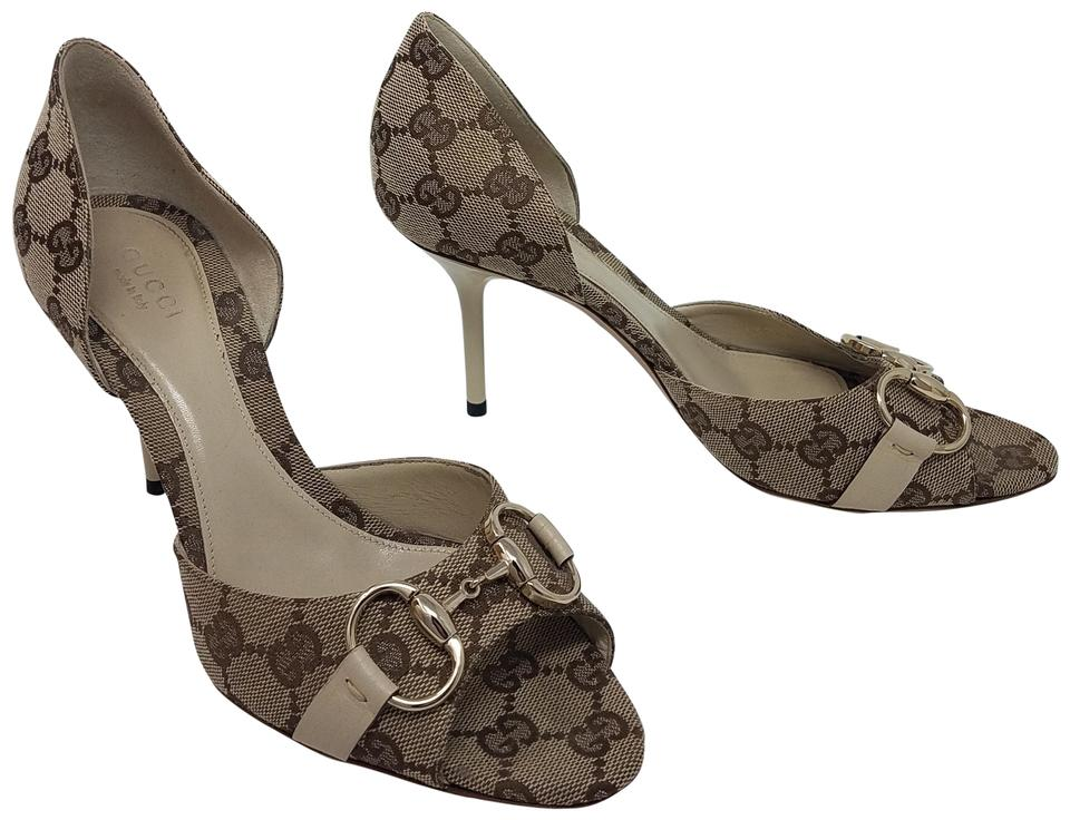 a11450b31ce0 Gucci Beige Brown White Gold Tan Creme Gg Canvas Peep-toe D orsay Pumps