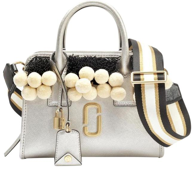 Item - Beads and Pom Poms Little Big Shot Platinum Multi Leather Satchel