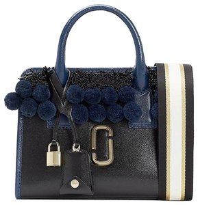 Marc Jacobs Little Big Shot Pom Poms Beads Leather Satchel in Black Multi