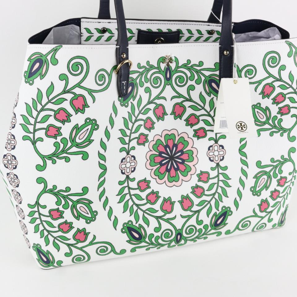 Burch Kerrington Garden White Tory Tote Party Leather Large d5EXwcqPw