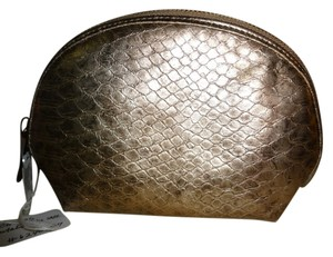 Chico's CHICO'S - Metallic Bronze Gold Croc Embossed Faux Leather Cosmetic Pouch Case