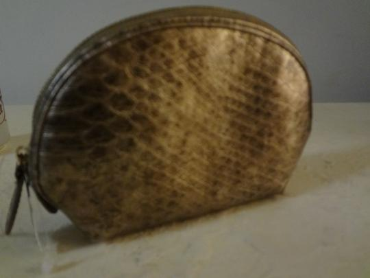 Chico's CHICO'S - Metallic Croc Embossed Faux Leather Cosmetic Pouch Case