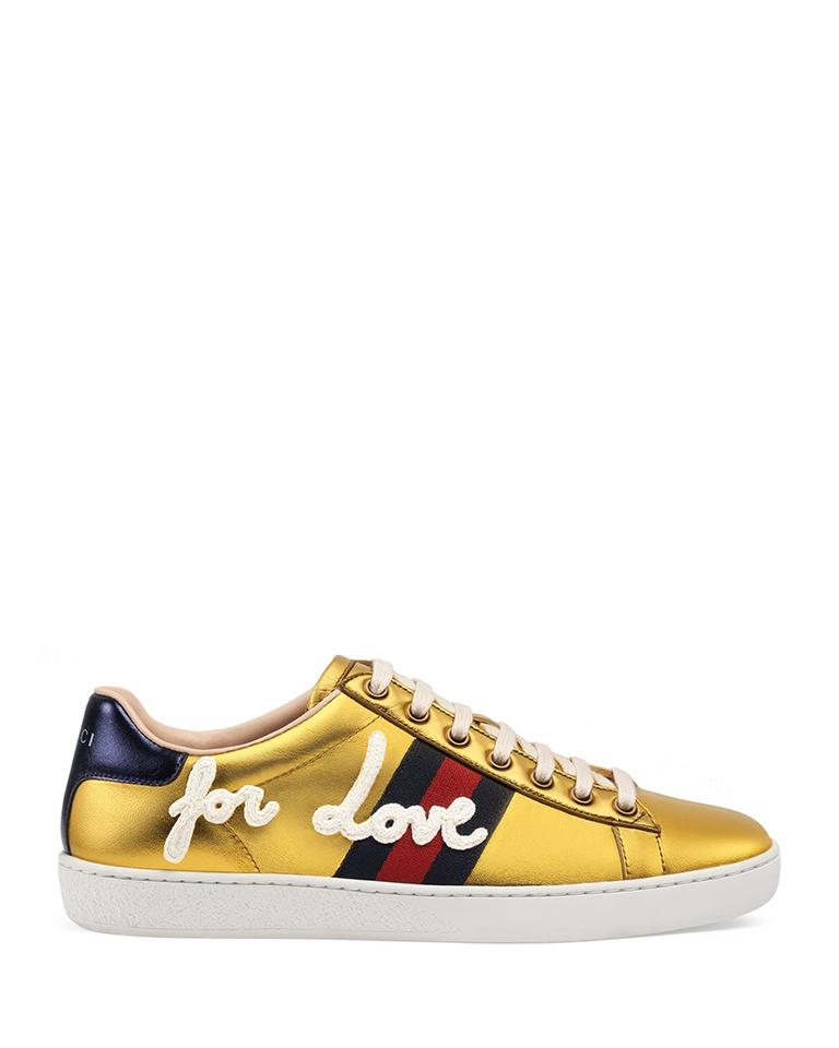 afd332430453 Gucci Gold New Blind For Love Ace Sneakers 41 Flats Size US 11 ...