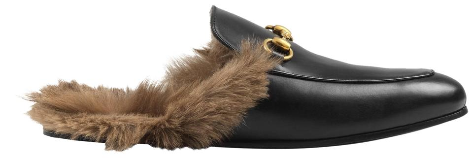 68aca4aedcc Gucci Black New Princetown Loafers Fur Lined Leather Slides 38 Flats ...