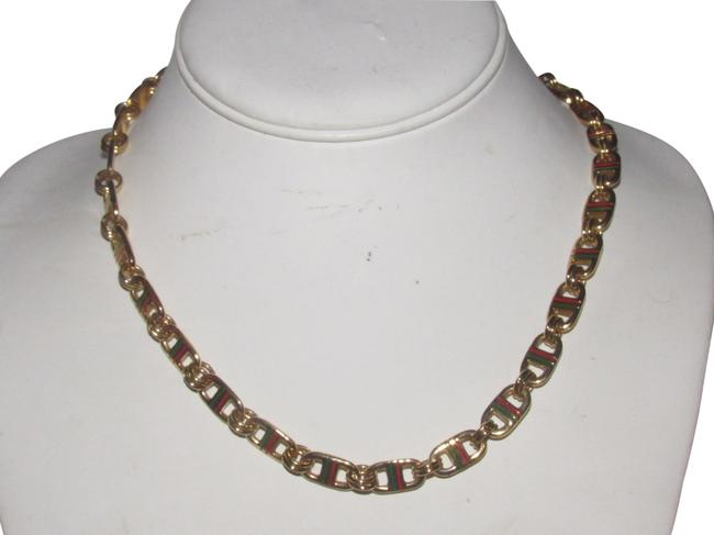 Item - Gold Links with Red and Green Enamel Stripes Jewelry/Designer Necklace
