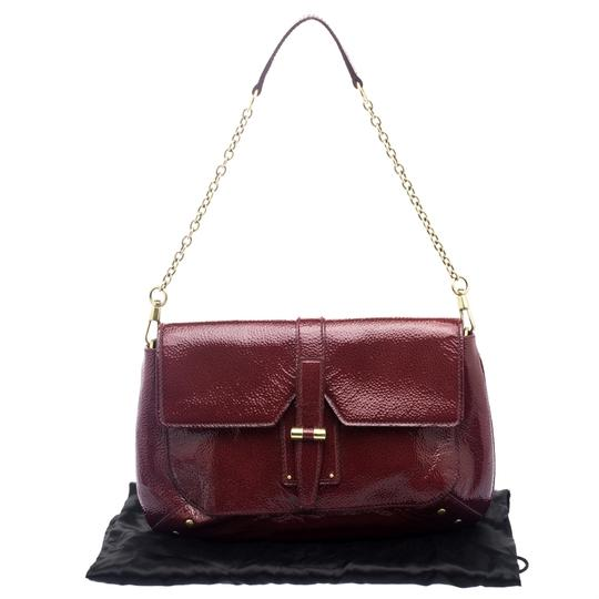 e99eac96deddc Saint Laurent Paris Emma Chain Red Patent Leather and Fabric Shoulder Bag  48% off retail