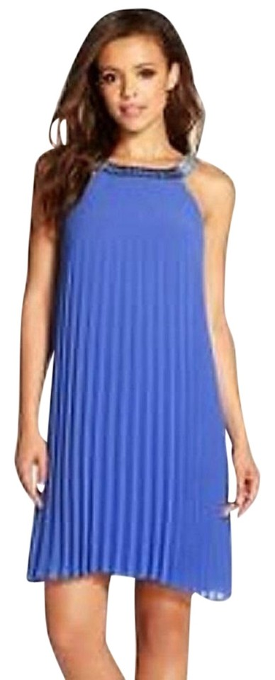 1106016a1 Laundry by Shelli Segal Dazzling Blue Beaded Neck Pleated Chiffon Trapeze Cocktail  Dress