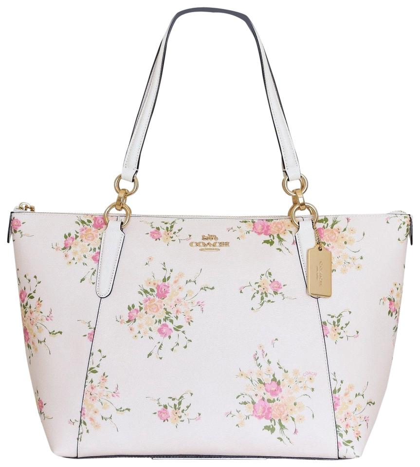 f6f51ee1b3 Coach Shoulder Bag New~coach Zip Zipper Floral Flower Print Handbag White  Leather Tote