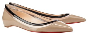 Christian Louboutin Pointed Toe Patent Leather Paulina Clear Pvc Beige, Black Flats
