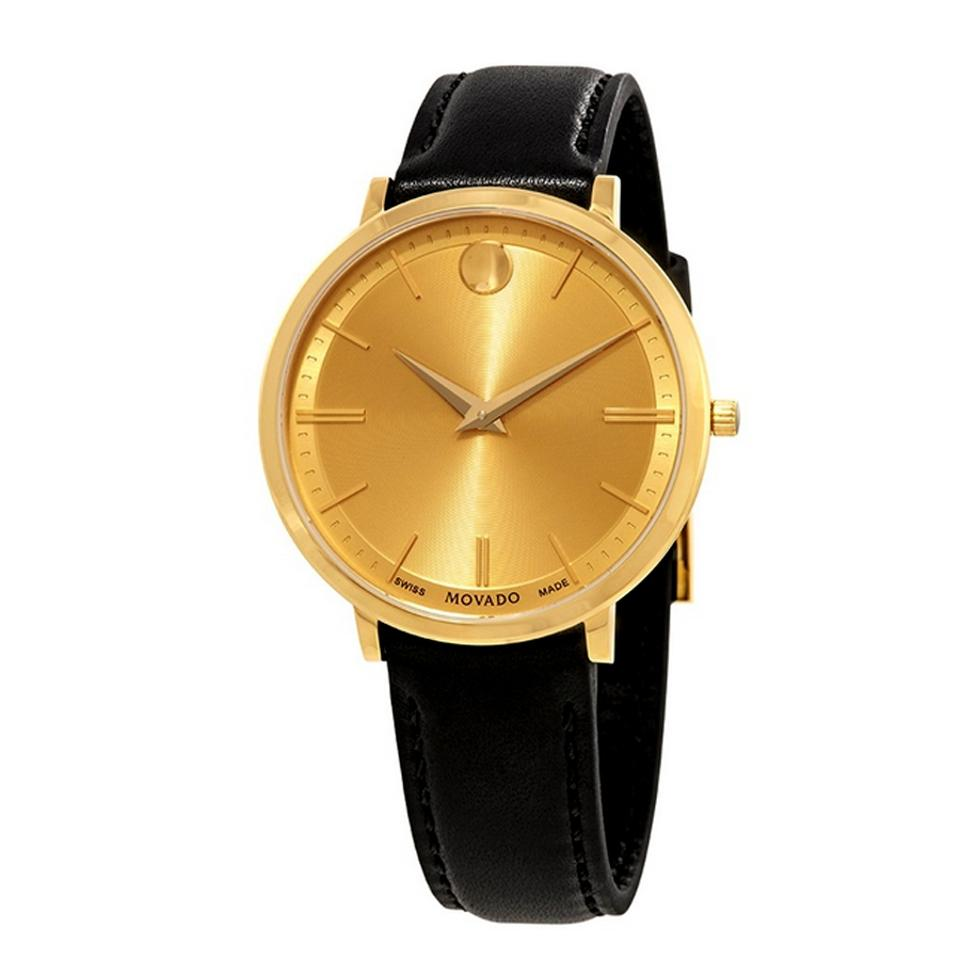 Movado Gold Black Swiss Made Ultra Slim Leather Tone Ladies Dress Watch