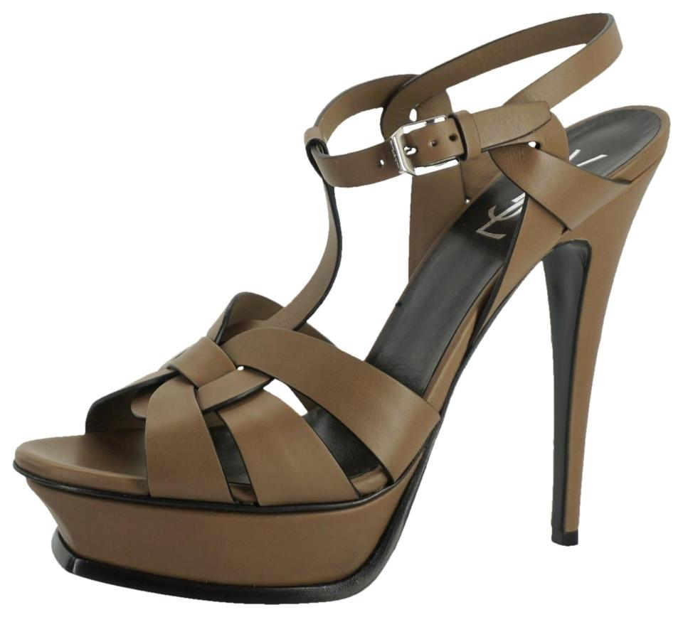 bfab560a32a Saint Laurent Brown Tribute Taupe Leather T Strap Platform Strappy Sandals  Size EU 39 (Approx. US 9) Regular (M, B) 53% off retail