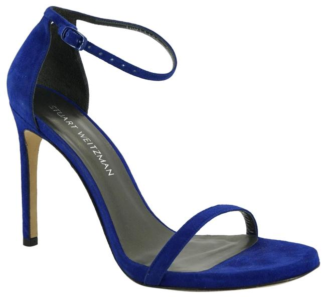 Item - Blue Nudistsong Suede Ankle Strap High Sandals Size US 9.5 Regular (M, B)