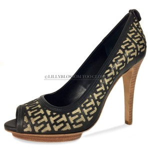 Tory Burch Business Work Signature Leather Wooden Black Pumps