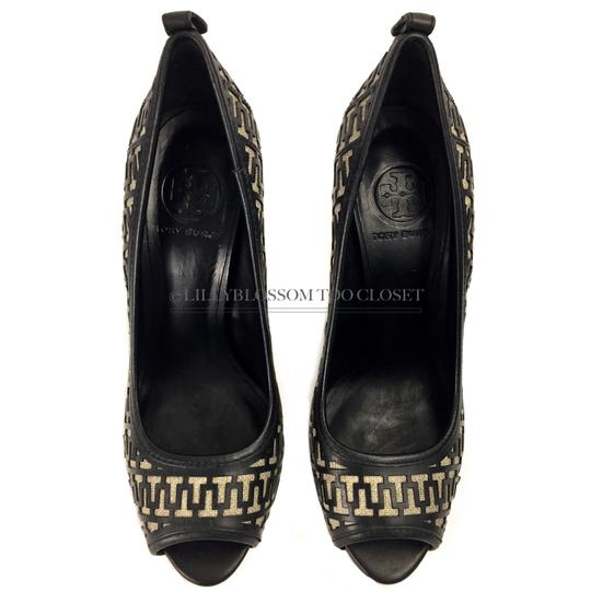Tory Burch Business Work Signature Leather Wooden Black Pumps Image 3