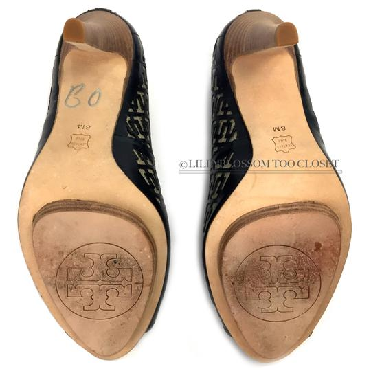 Tory Burch Business Work Signature Leather Wooden Black Pumps Image 4