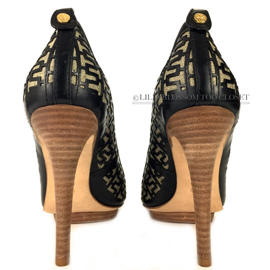 Tory Burch Business Work Signature Leather Wooden Black Pumps Image 5
