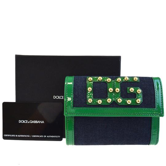 Preload https://img-static.tradesy.com/item/23290499/dolce-and-gabbana-green-denimgreen-leather-dg-rockstuds-trifold-wallet-0-0-540-540.jpg