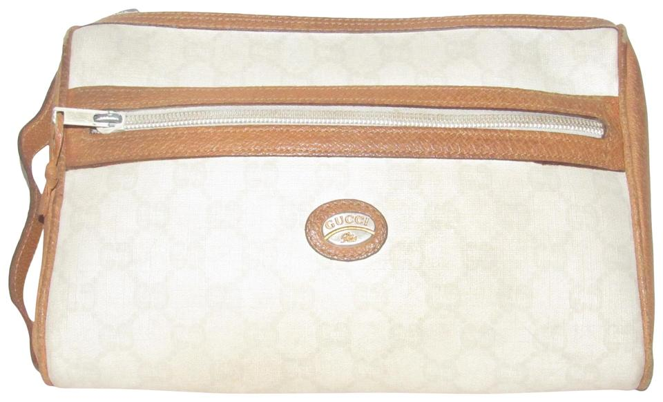 2bfb8c691 Gucci Rare Color Combo Style Clutch/Cosmetic Perfect For Spring Excellent  Vintage ivory coated canvas ...